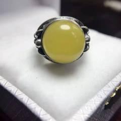 瑾瑜珠宝  波罗的海蜜蜡无优化无烤色,蜜蜡戒指 顶级料质,精工制作,纯925银镶嵌