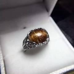 瑾瑜珠宝  天然铜发晶,水晶戒指  满发极品东西低价格,