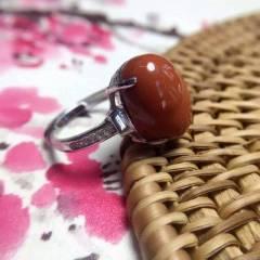 川料南红柿子红 天然南红精工镶嵌,纯925银电镀白金,圈口可调,戒面尺寸长15宽11