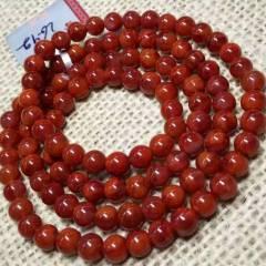 天然川料5.7mm南红手串,成色自已看,重26.9克。实物比图片更美