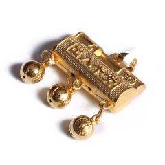 宝麒麟银楼 黄金 3D硬金虎出入平安锁吊坠   黄金珠宝吊坠 8.62g