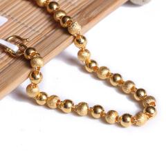 寶麒麟銀樓 黃金女士手鏈 磨砂佛珠手鏈    黃金珠寶手鏈 11.28g