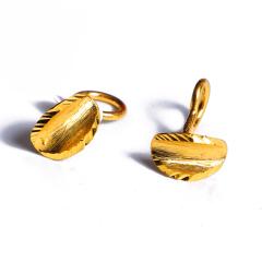 宝麒麟银楼 黄金耳钉 树叶   黄金珠宝耳钉 2.62g