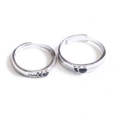 白银戒指 爱心情侣戒指(S925)
