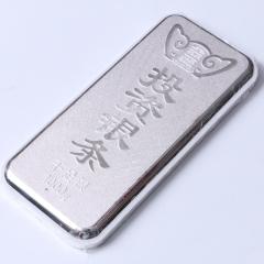 腾飞龙8国际娱乐游戏行 黄金龙8国际娱乐游戏 纯银投资银条 1000g 长13cm 宽5.5cm