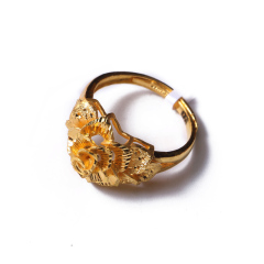 富华珠宝首饰 黄金精雕玫瑰    黄金珠宝戒指 8.46g