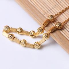 富华珠宝首饰 黄金项链肖邦珠子链    黄金珠宝项链 15.38g
