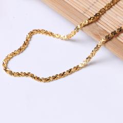 富华珠宝首饰 黄金项链交叉链    黄金珠宝项链 10.3g