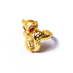 富华珠宝首饰 黄金宝石狐狸   黄金珠宝戒指 7.68g