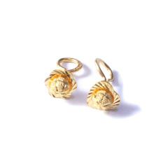 新西北金行  千足金叶片带珠耳钉 黄金珠宝黄金耳钉  重量 3.14g