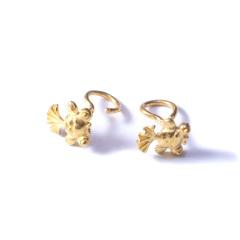 新西北金行  千足金金鱼耳钉  黄金珠宝黄金耳钉重量 2.74g