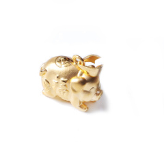 新西北金行  千足金3D猪吊坠  重量1.90g  黄金珠宝黄金吊坠 1.90g