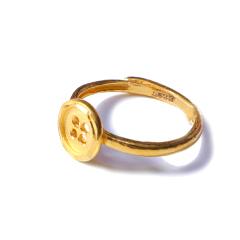 新西北金行  千足金扣子戒指  重量3.44g    黄金龙8国际娱乐游戏黄金戒指 3.44g