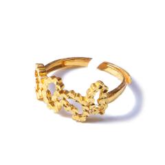 新西北金行  千足金双蝶戒指  重量2.75g   黄金珠宝黄金戒指 2.75g