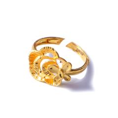 新西北金行  千足金蝴蝶紫莉花戒指  重量4.48g   黄金珠宝黄金戒指 4.48g