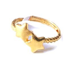 新西北金行  千足金双星戒指  重量2.80g    黄金珠宝黄金戒指 2.80g