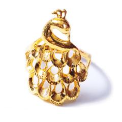 新西北金行  千足金孔雀戒指  重量9.66g  黄金戒指 9.66g