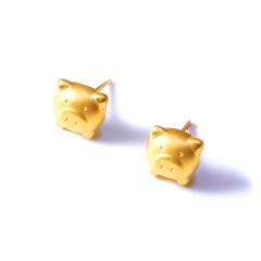 新西北金行  千足金3D猪头耳钉   黄金珠宝黄金耳钉 重量 1.38g