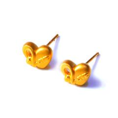 新西北金行  千足金3D桃心耳钉  黄金珠宝黄金耳钉  重量 1.77g