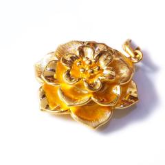 新西北金行 千足金3D小紫荆花吊坠  重量4.83g   黄金珠宝黄金吊坠 4.83g