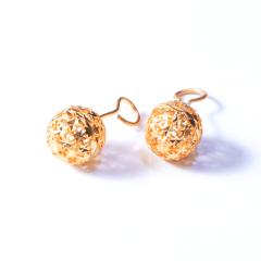 新西北金行  千足金镂空珠耳钉     黄金珠宝黄金耳钉重量 4.83g
