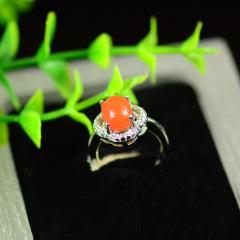 純天然涼山美姑南紅瑪瑙櫻桃紅銀鑲嵌鑲鉆精美獨特戒指1#,市場價:580元