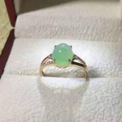 炳东玉器  翡翠A货  翡翠戒指:18K金镶嵌南非钻石!