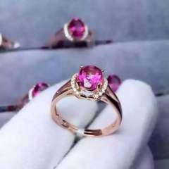 """玉博源  My Queen""""粉色托帕石戒指!玫红色鲜艳亮丽!精致的做工!银镶活口!"""