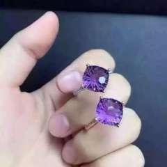 玉博源  新款天然紫水晶戒指 精湛的泰国烟花工艺上手简约奢华 紫艳迷人