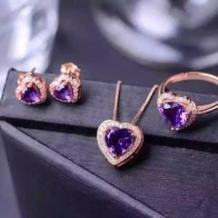 玉博源 紫水晶 晶体全净爆闪 戒指吊坠耳饰套装  万花筒切割工艺银镀18K玫瑰金色