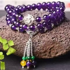 玉博源  純天然紫水晶三圈手鏈!配925銀!直徑:6毫米!水晶手鏈