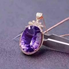 玉博源  大气非凡的新款出货了主石闪耀非凡的紫水晶吊坠,925纯银镶嵌!特价赠链子