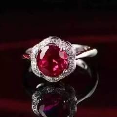 玉博源  碧玺色锆石戒指,S925银镶嵌锆石,极品红碧玺色,主石9mm,