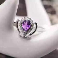 玉博源  皇冠戒指, 925银镶嵌天然紫水晶,辅石水钻, 主石5*7mm,活口可调节
