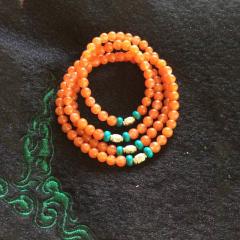 南红石家   彝族手工制作极品柿子红吉祥珠手链    黄金珠宝玉器南红玛瑙