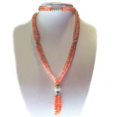 南紅石家    彝族手工制作美姑柿子紅純銀名族風項鏈    黃金珠寶玉器南紅瑪瑙