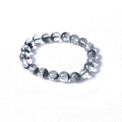 万世珠宝 时尚饰品 水晶 绿幽灵水晶聚宝盆手串 22.8g