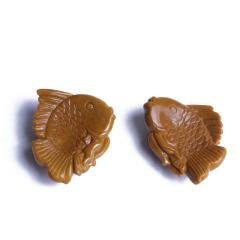 文玩緣布丁  戰國紅瑪瑙雞油黃巧雕魚一對  吊墜