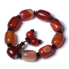 郑州品石轩 玛瑙 手链 手串 珠子长18mm 直径13mm