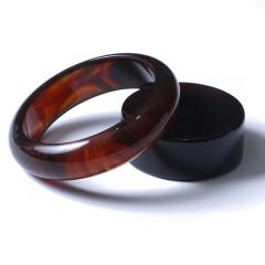 棕紅琥珀手鐲 圈口56 條寬17 厚9 單只克重23.6 總64.1g