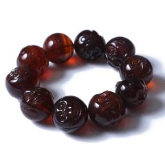 琥珀精灵 缅甸棕红紫罗兰十八罗汉男款手串2.5直径 75.38g