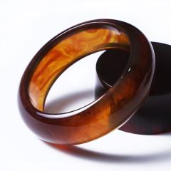 琥珀精靈 金棕琥珀手鐲 圈口58.5 條寬22 厚10 手鐲單只克重35.9 總99.1g
