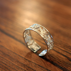 【银阁】S999足银戒指 开口均码指环 傣银复古款