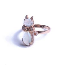 佳琪翡翠  高冰戒面镶嵌猫咪戒指18K玫瑰金 戒指