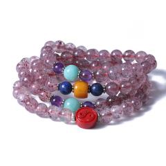 博琚轩  草莓水晶佛串  规格6.5mm  重量37.6g   时尚饰品水晶