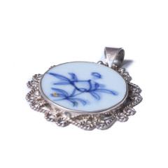 楼兰文玩小铺 奇趣收藏 工艺品 明清瓷片包银吊坠