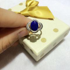 青金石戒指,极品戒面,戒指托纯银