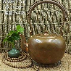 华艺坊 紫铜手工车胎錾刻禅佛图案,抛光禅茶一味烧水提梁铜壶。实用、养生、品质、珍藏、传承