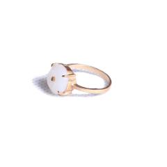 玉之韵 和田白玉镶金戒指 1.0