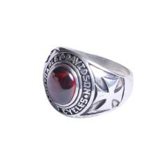 玩勿尚炙  戒指 925純銀鑲紅寶石哈雷男士戒指